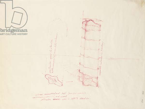 Study for Column-Body, 1966 (ink on paper)