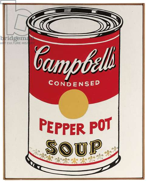 Campbell's Soup Can (Pepper Pot), 1962 (casein and graphite on linen)