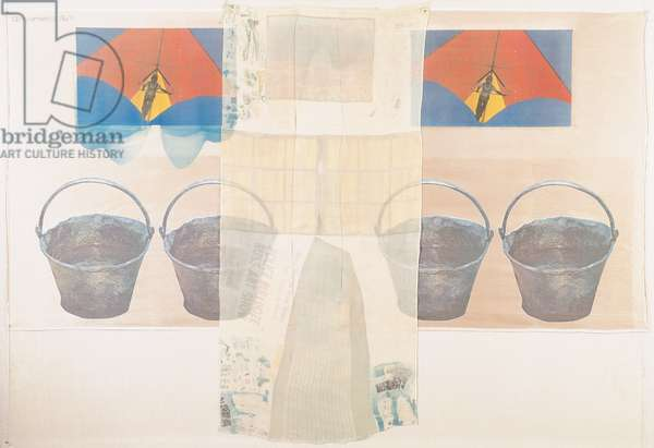 Plus Fours, 1974 (offset litho & screenprint transfers on silk chiffon & silk satin on linen mount)