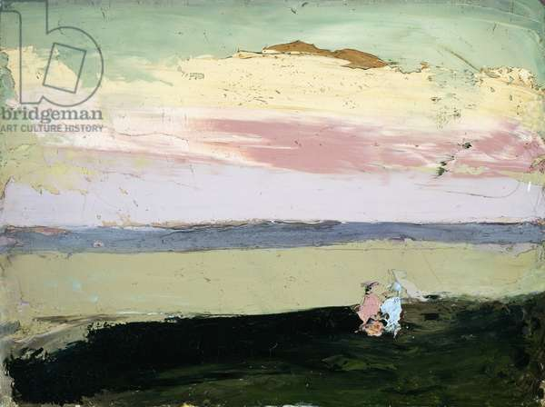 Coastal Scene at Sunset, (oil on canvas)