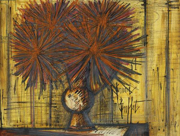 Vase of Flowers; Vase de Fleurs, 1961 (coloured crayons, pastel, thinned oil and black ink on paper)