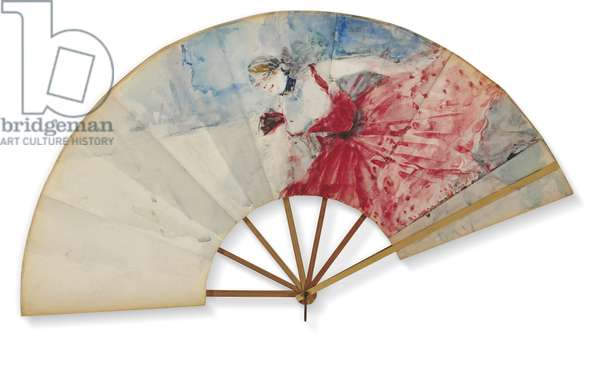 Eventail, c.1892 (w/c on paper fan with bamboo support)