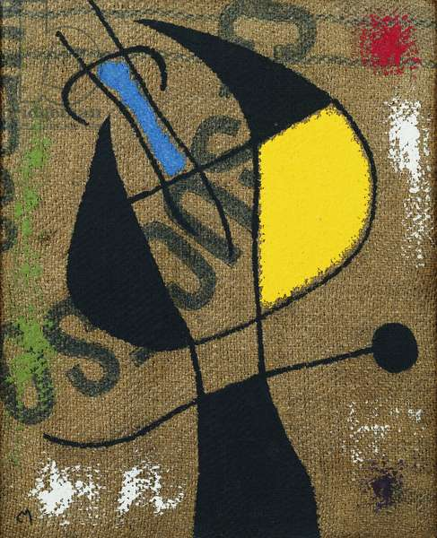 Woman and Bird IX/X; Femme et Oiseau IX/X, 1960 (oil on hessian)