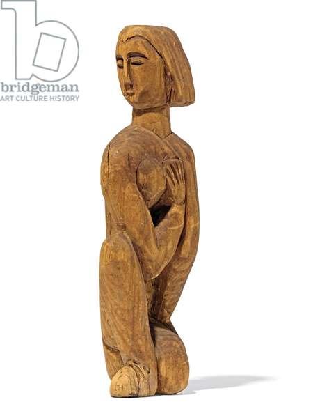 Kneeling, Left-facing Head, Right Hand on the Left Breast; Kniende, Nach links Gewandter Kopf, Rechte Hand auf der Linken Brust, 1912 (wood)