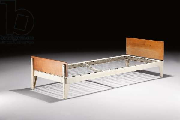Bed, designed c.1942, executed c.1946 (lacquered bent steel & oak)