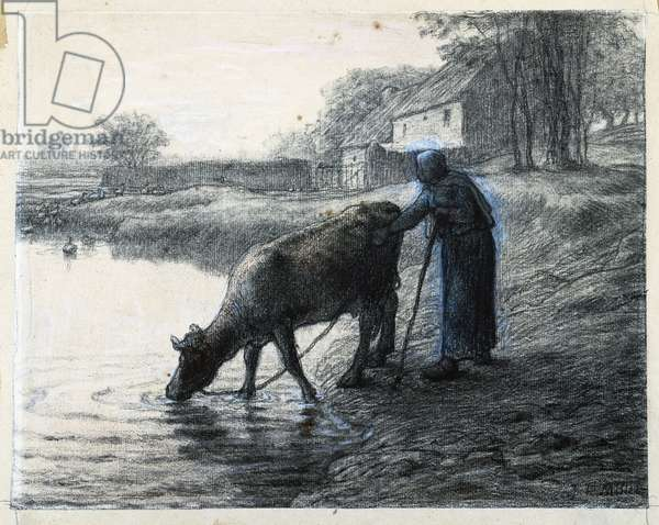 Woman leading her Cow to Water (black chalk heightened with white on laid paper)