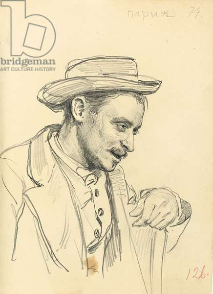 Man with a Hat in Profile, c. 1872-1875 (pencil on paper)