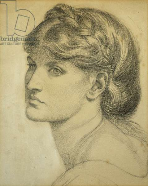Study of a Head for 'The Bower Meadow', 1872 (black chalk)