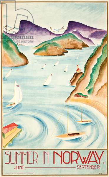 Summer in Norway, c.1930 (colour litho)