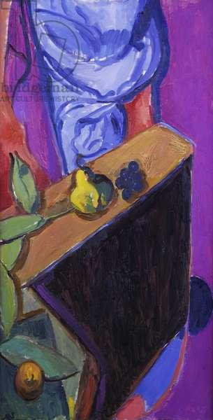 Still life with fruit on a table (oil on canvas)