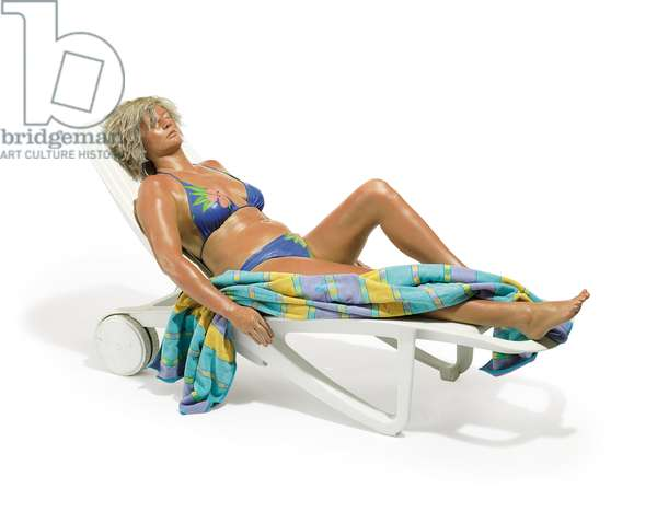 Sunbather, 1987-1989 (bronze, polychromed in oil, mixed media and accessories)