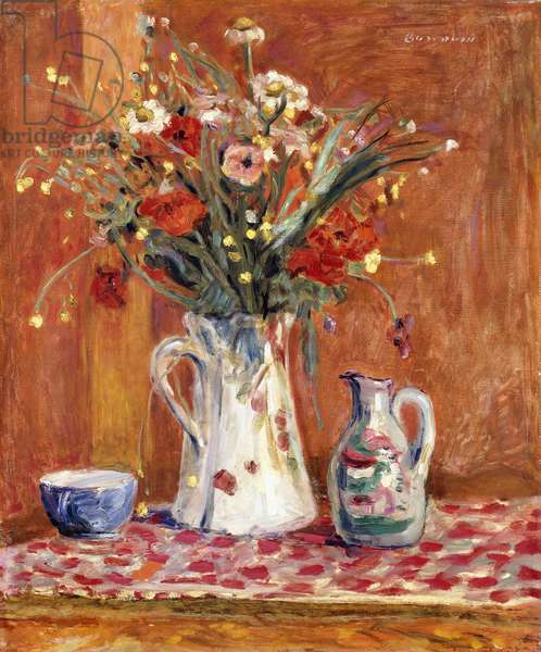 Flowers with Pottery, 1913 (oil on canvas)