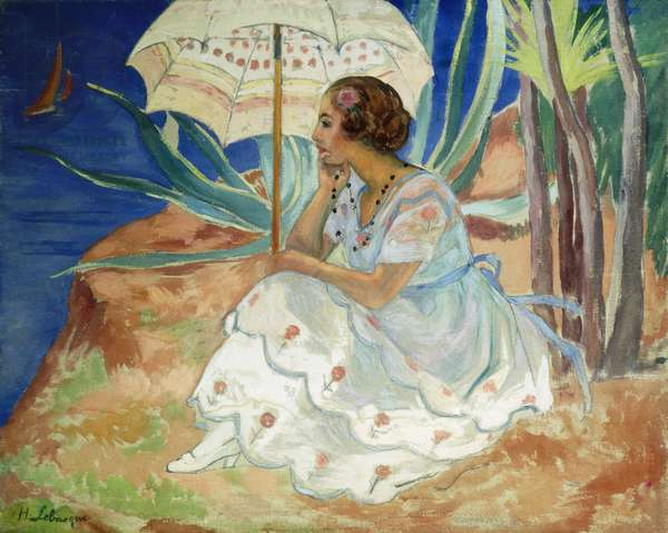 Young woman with an Umbrella, Saint Maxime; Jeune Fille a l'Ombrelle Saint-Maxime, c.1918 (oil on canvas)