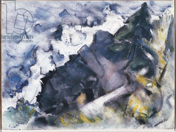 Wave and Rock, 1934 (w/c on paper)