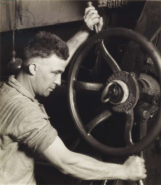 An Industrial Design: Pennsylvania Rubber Co. at the Control Wheel of a Great Calendar - Making Auto Tires, 1920s, printed 1930s (gelatin silver print)