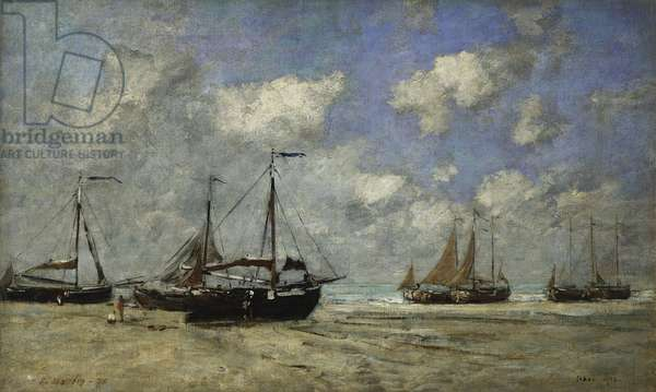 Scheveningen, Boats Run Aground on the Shore; Scheveningen, Bateaux Echoues sur la Greve, 1875 (oil on canvas)