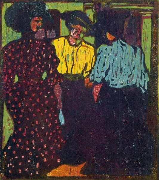 Three Women Talking, 1907 (woodcut in four colours)