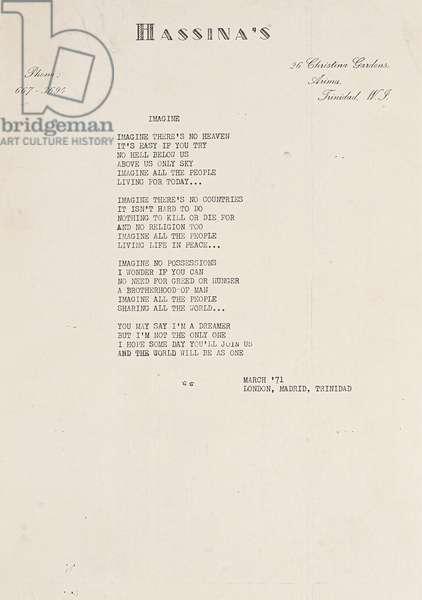 Imagine, draft lyric sheet for 'Imagine', 1971 (photocopy)
