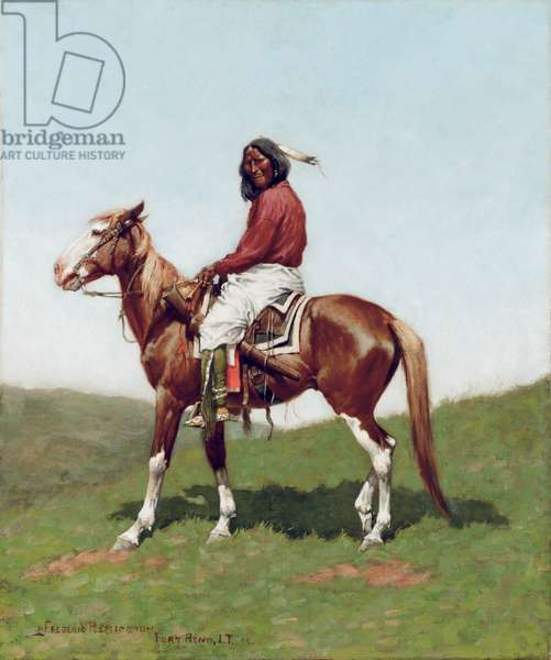 Comanche Brave, Fort Reno, Indian Territory (oil on canvas)