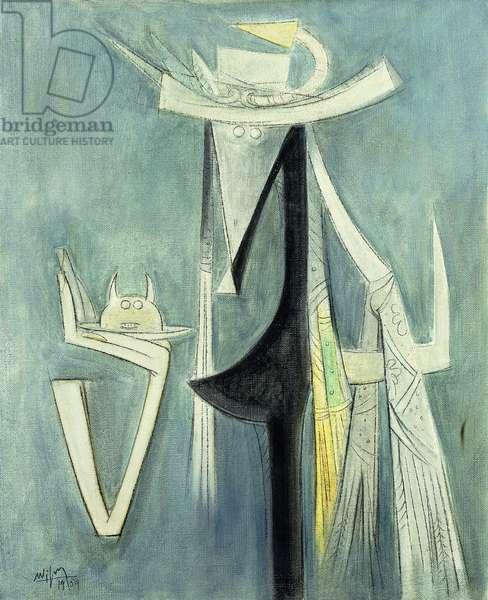 Horse Lady; Femme Cheval, 1959 (oil on burlap)