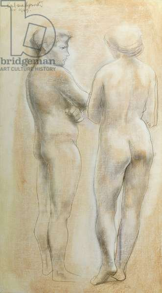Two Figures with Folded Arms, 1949 (oil and thinned pencil on board)