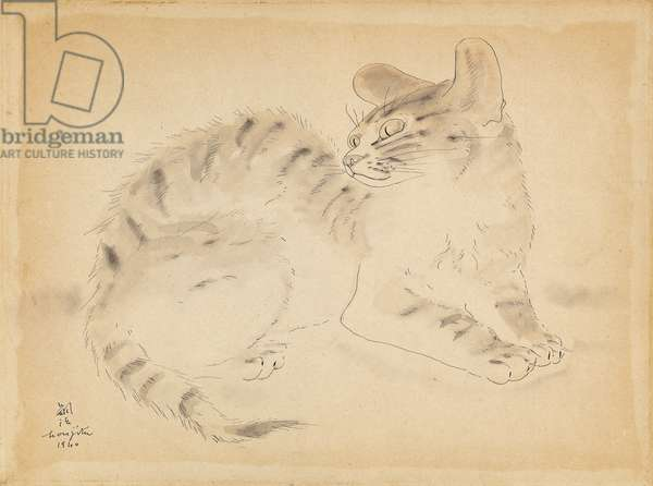 The Cat; Le Chat, 1940 (watercolour and pen and ink on paper laid down on masonite)