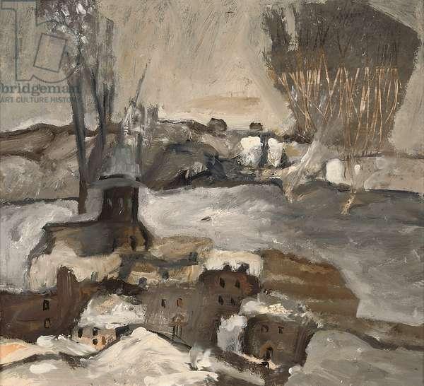 Millers' Farm under Snow (oil on board)