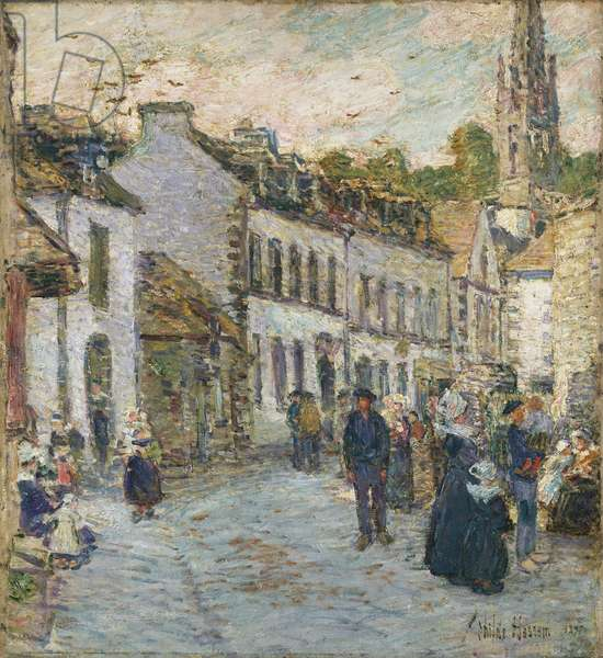 Street in Pont Aven - Evening, 1897 (oil on canvas)