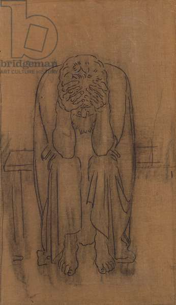 Dark Genius; Dunkler Genius, 1891-2 (pencil on oaper over canvas)