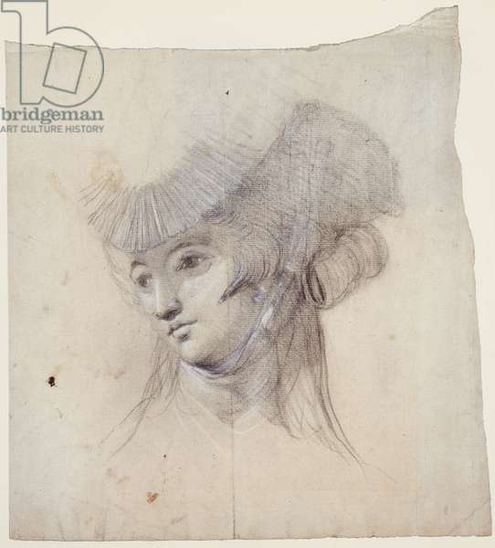 Portrait Study of a Woman, probably Mrs Fuseli (black chalk heightened with white on paper)