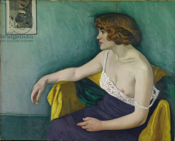 Young woman seated in profile, 1914 (oil on canvas)