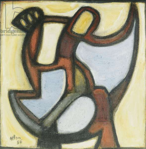 Composition, 1956 (oil on burlap)