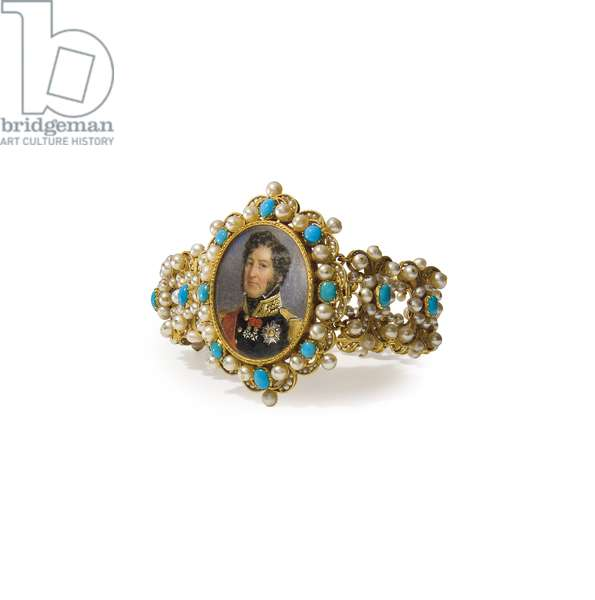Bracelet containing a miniature of Louis-Philippe I, King of the French (gold, pearls, turquoise and w/c on ivory) (see also 356598)