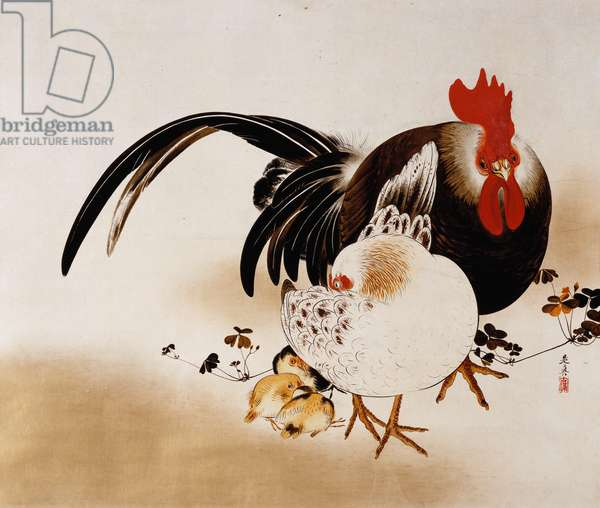 """Cockerel, Hen and Chicks, 1892 (hanging scroll, colored lacquer on prepared paper"""")"""