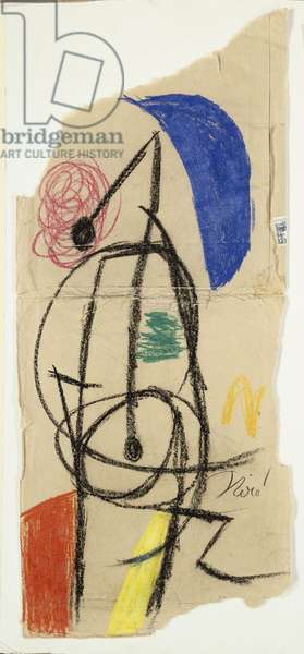 Woman at Night, 1977 (black & coloured wax crayons on paper)