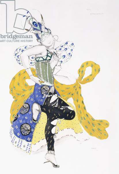 Costume design for Madame Trouchanova in 'La Peri', 1911 (lithograph printed in colours, with gold paint, on paper)