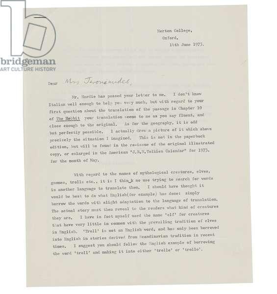 Letter to Mrs. Elena Jeronimides, Merton College, Oxford, 1973