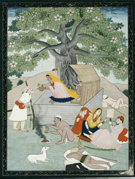 Miniature from an album, Kangra (gouache heightened with gold on paper)