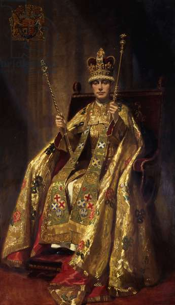Portrait of H.M. King George VI in Coronation Robes, 1937 (oil on canvas)