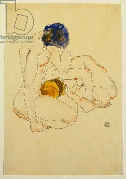 Two Friends, 1912 (gouache & pencil on paper)