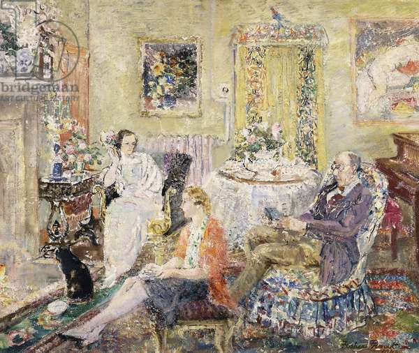 Family Seated in a Drawing Room, (oil on board)