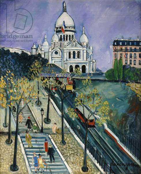 Montmartre and the Sacre Coeur, (oil on canvas)
