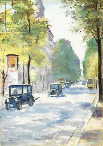 Street Scene,  (pastel on board)