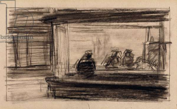 Studies for Nighthawks,  (charcoal on paper)