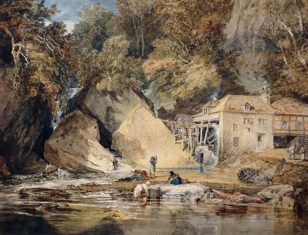 Aberdulais Mill, Glamorganshire, Wales, 1796-97 (pencil and watercolour)