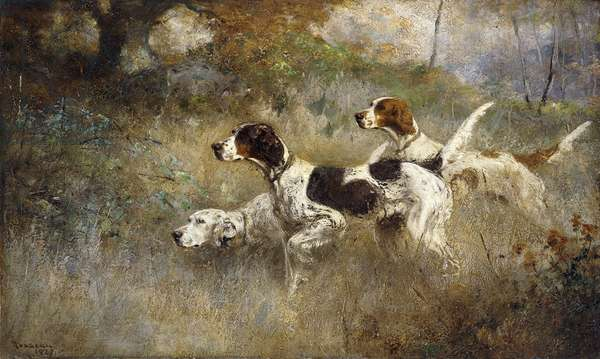 The Setters Three, Bob, Bill and Ginger on a triple point, 1927 (oil on canvas)