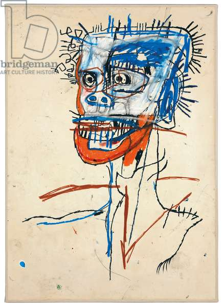 Untitled (Head of Madman), 1982 (oilstick on paper mounted on linen)