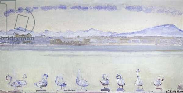 Nine Swans in Front of a Mountainous Landscape; Der Hafen von Genf, mit Neun Schwanen, vom Quai du Mont Blanc aus, 1915 (oil on canvas)