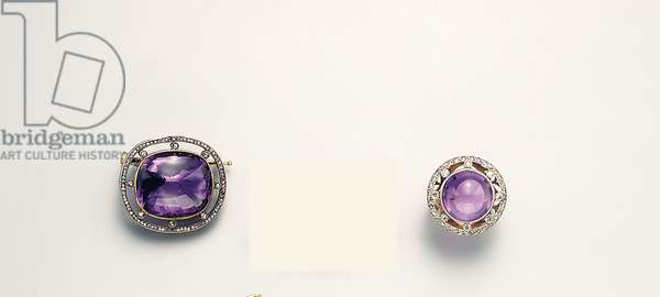 Brooch and ring, St. Petersburg, 1908-17 (gold, silver, diamonds & amethyst)