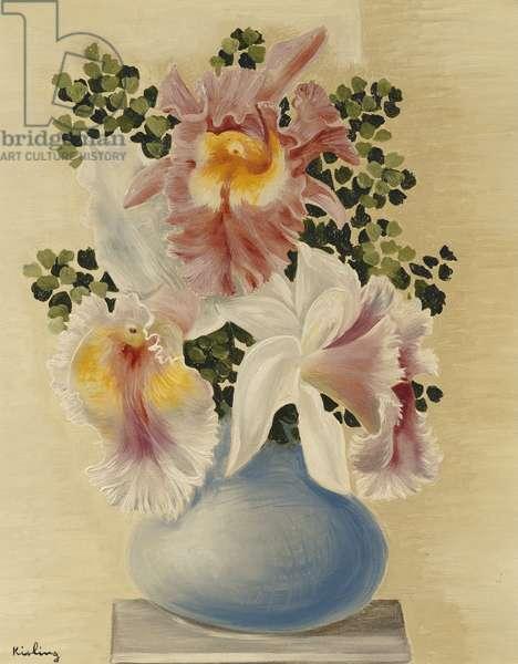 Blue Vase with Orchids; Vase Bleu aux Orchidees, (oil on canvas)